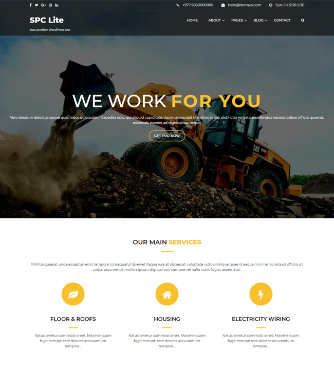 Spark Construction Lite – Free Construction WordPress Theme